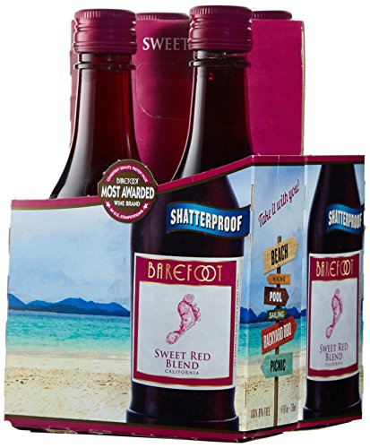 Barefoot Cellars California Sweet Red Wine Plastic and Portable Mini