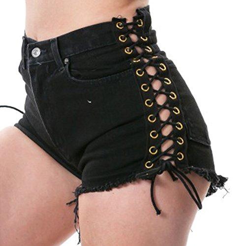 Slim Casual Shorts Noir Denim Court Jeans Skinny Femmes Pantalons qf4xPaRpc