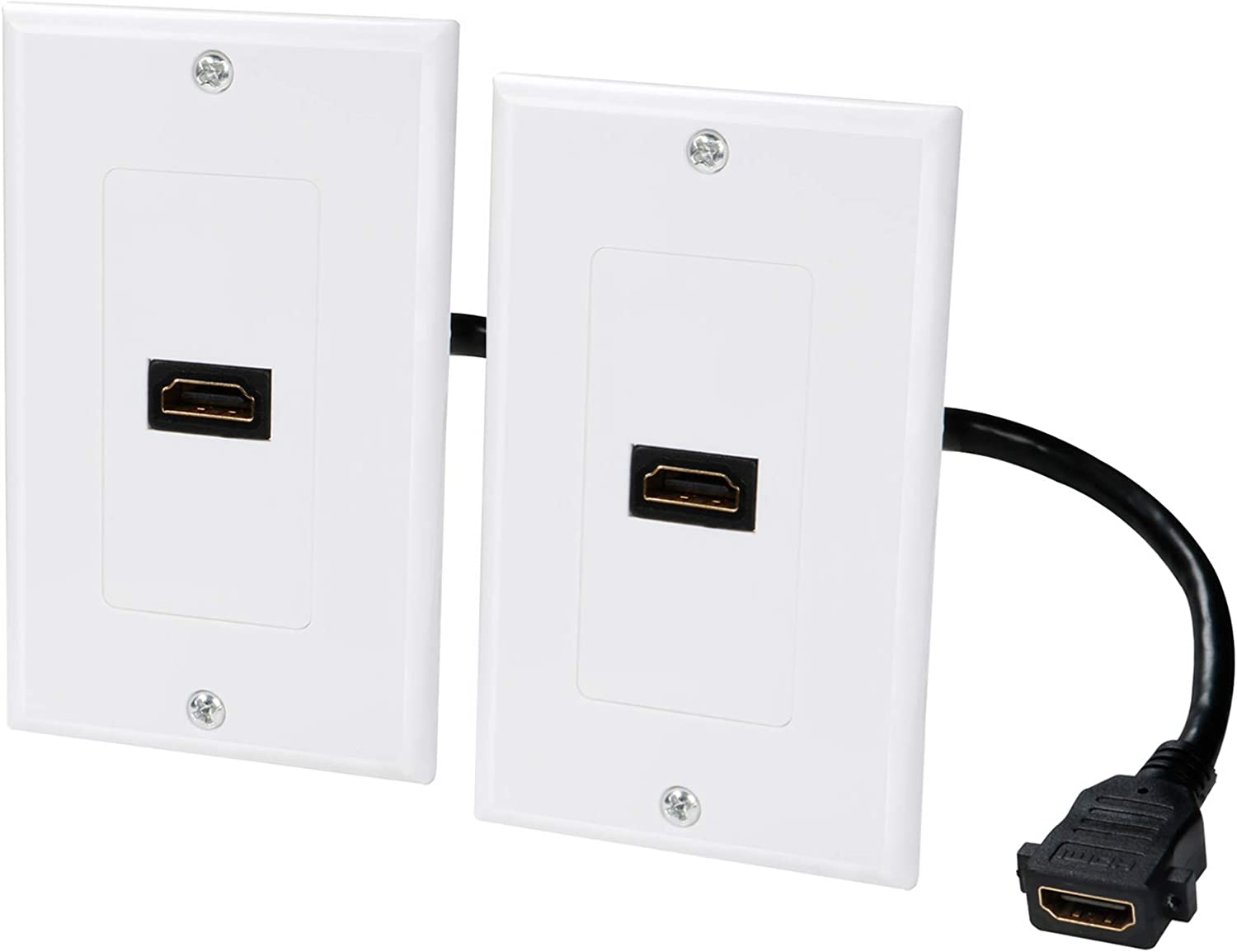 HDMI Wall Plate 1 Port 4k 2-Pack, HDMI Faceplate Single Outlet Standard Wall Plate (Support 4K UHD Video,ARC) with Pigtail HDMI Keystone Jack for HDTV,Projector,PS4/Xbox, Home Theater Systems