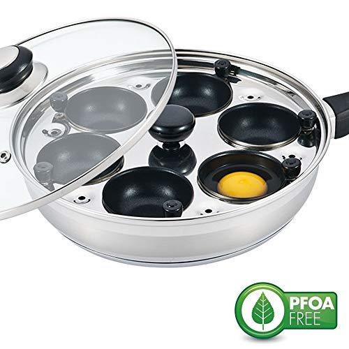 (Eggssentials Poached Egg Maker - Nonstick 6 Egg Poaching Cups - Stainless Steel Egg Poacher Pan FDA Certified Food Grade Safe PFOA Free with Bonus Spatula)