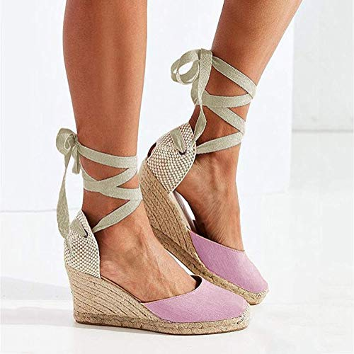 Cordones Tacón Verano Dulce Plataforma Redonda Sandals Romanas Minetom Rosado Sandalias Mujer Zapatos Casual De Cuña Alto Cabeza qExtOU0B