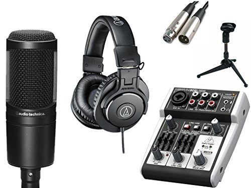 audio technica at2020 microphone with usb mixer accessories all in one solution kit for home. Black Bedroom Furniture Sets. Home Design Ideas