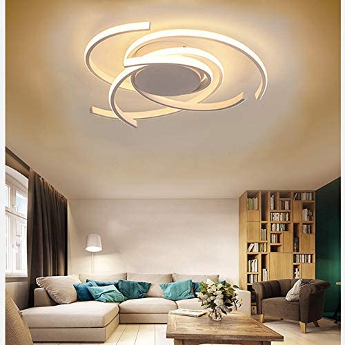 Amazon Com Led Modern Ceiling Lighting Flower Shape Design Living Room Light Metal Ceiling Lamp Bedroom Fixtures Dimmable Dining Kitchen Ceiling Flush Mount Hanging Lamps Acrylic Shade With Remote Control Lights Home Improvement