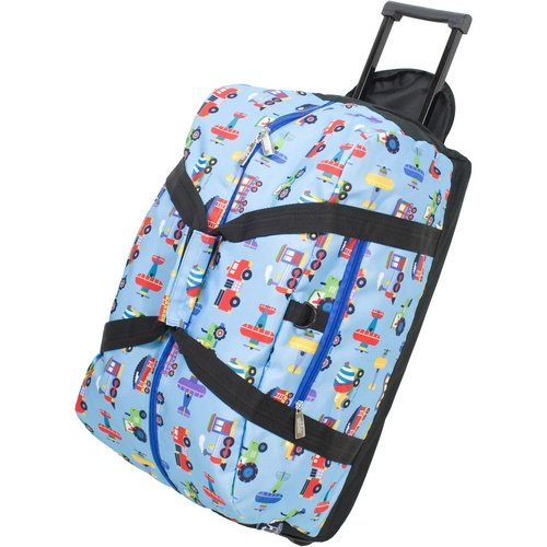 Wildkin Rolling Duffel Bag, Features Telescopic Handle and Moisture-Resistant Lining, Perfect for Sleepovers, Sports Practice, and Travel, Olive Kids Design – Trains, Planes, & Trucks