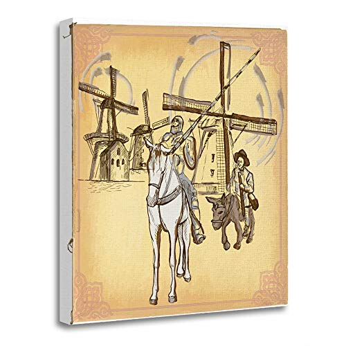 Emvency Painting Canvas Print Wooden Frame Artwork Colored Line Don Quijote Quixote Freehand Sketch of Knight in Front Windmills Decorative 24x32 Inches Wall Art for Home Decor