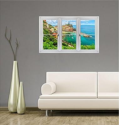 "36"" Window Landscape Scene City View VERNAZZA, CINQUE TERRE, ITALY #1 CLOSED WHITE Wall Sticker Decal Room Home Office Art Décor Den Mural Graphic MEDIUM"
