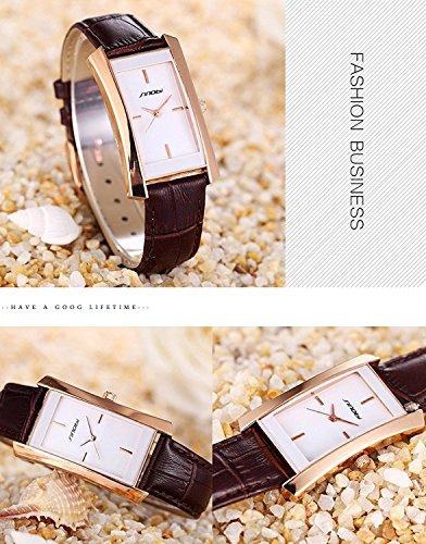 SINOBI Square Women Watches Wristwatch Business Casual Lady Designer Simple Rectangular Women Watches S8179L (rosegold case&brown band) by SINOBI (Image #3)