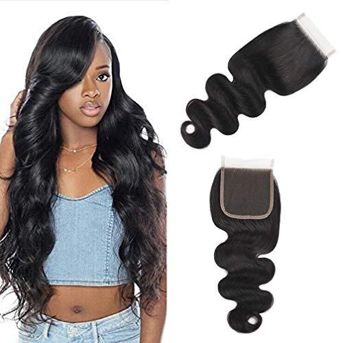 10A Brazilian Closure Body Wave 100% Unprocessed Virgin Human Hair Lace Closure 4X4 Free Part Natural Black (16 inch, Natural Color)