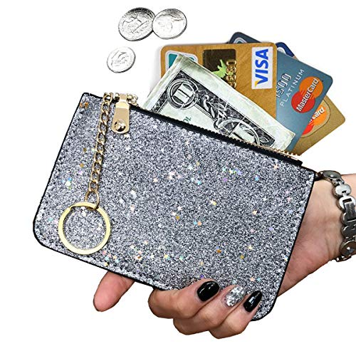 (AnnabelZ Coin Purse Change Wallet Pouch Bling Card Holder with Key Chain Zip (Silver))