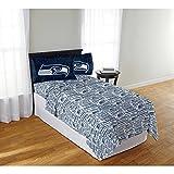 seahawks full bedding - 4 Piece NFL Seahawks Anthem Sheet Full Set, Football Themed Bedding Sports Patterned, Team Logo Fan Merchandise Athletic Team Spirit Fan, Navy Blue White Green, Polyester