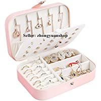 Jewelry Box Case, Small Travel PU Leather Jewellery Storage Organizer for Rings Earrings Necklace Bracelets Jewelry Gift for Women