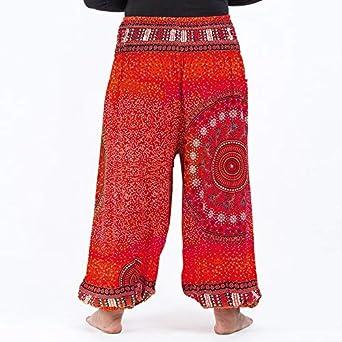 Golray Pantaloni Harem Donna Hippy Ethnic Boho Stampata Elastico in Vita Alta Comode Baggy Yoga Pants Estivo Pantaloni Larghi da Donna con Tasche per Pilates Jogging Palestra Sportivi Pigiama