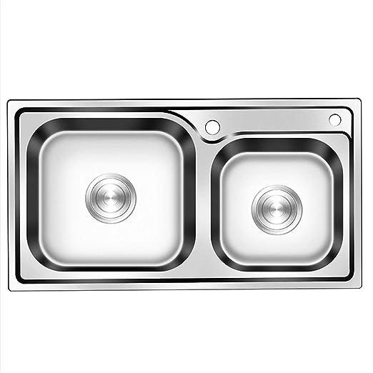 Fregadero de cocina doble de acero inoxidable integrado ...