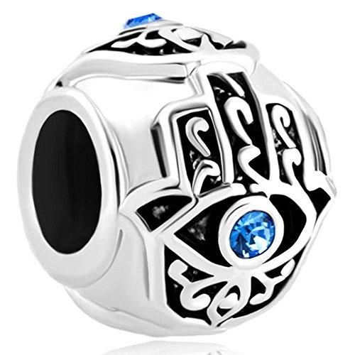 LovelyJewelry Good Luck Charms Aquamarine Blue Crystal Birthstone Evil Eye Islamic Hand of Hamsa Charm Beads For Bracelets Gifts