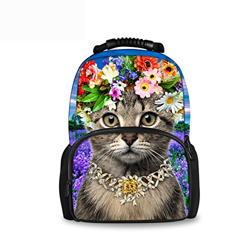 - CHAQLIN Floral Animal Kitty Cat Children School Backpacks Purple