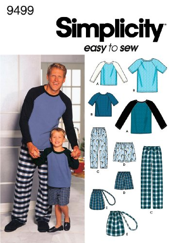 Simplicity Sewing Pattern 9499 Boys and Men Loungewear, A (S-M-L/S-M-L-XL)