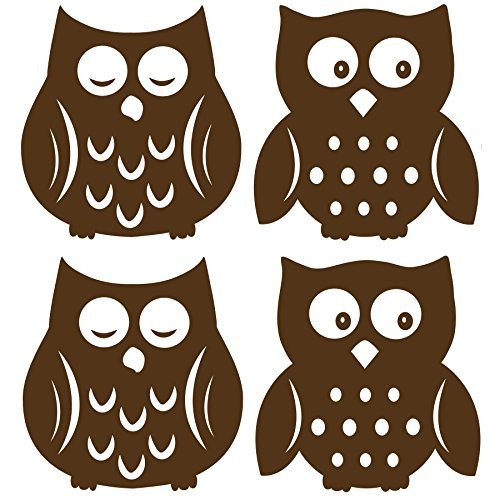 Wall Pops WPSI0842 Owl Silhouettes Espresso Brown Wall Decals, 4 pieces -