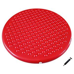 AppleRound Jr. Inflatable Seat Cushion with Pump, 31cm/12in Diameter, Sensory Wiggle Seat for Kids (Red)