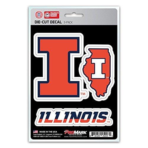 NCAA Illinois Illini Team Decal, 3-Pack