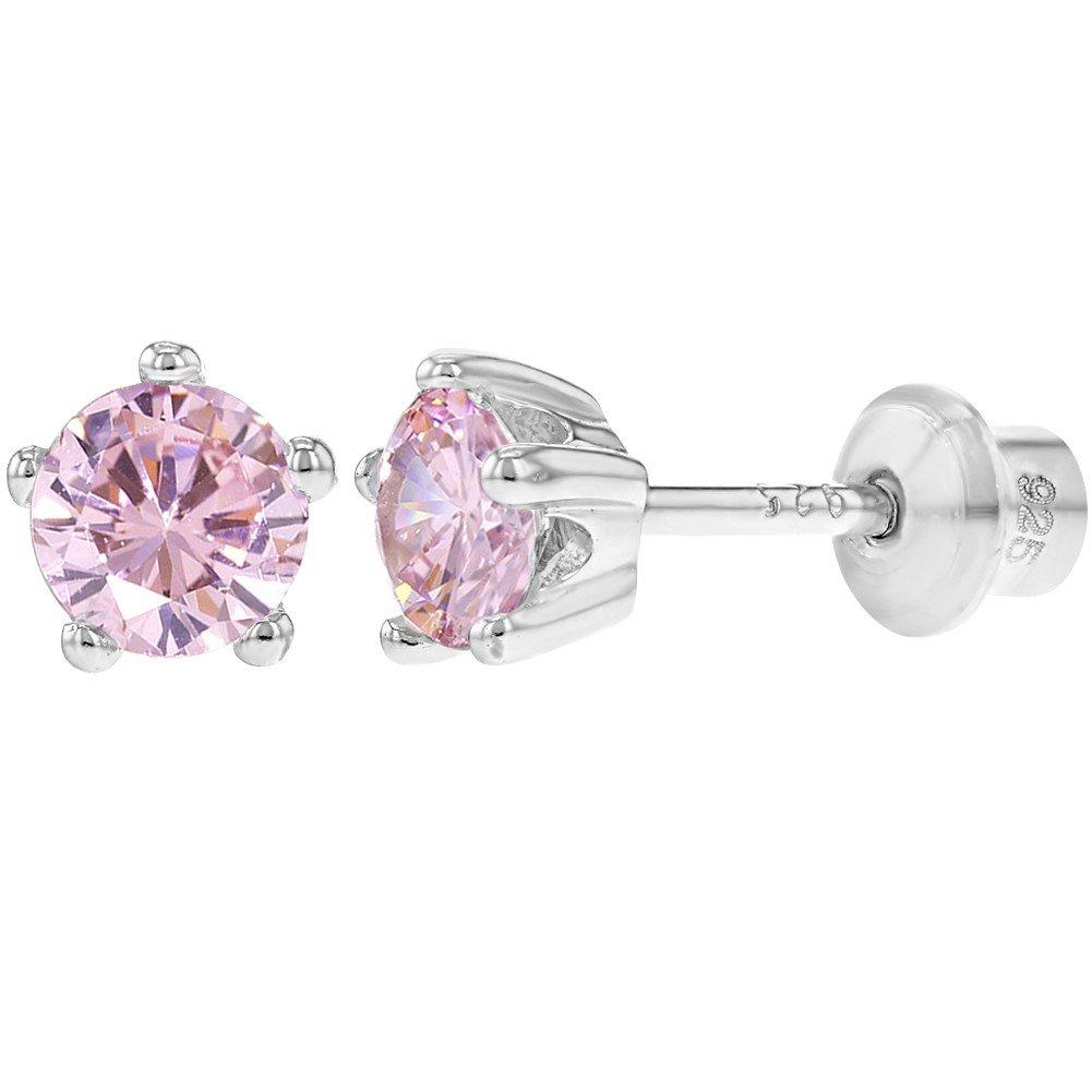 Boucles d\'oreilles en argent sterling, pour fillettes - Avec vis de sécurité - Serties de zircons cubiques de 4 mm In Season Jewelry
