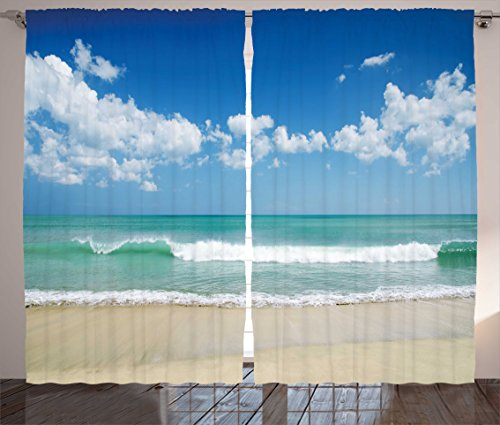 Ambesonne Modern Decor Curtains, Sandy Beach with Bright Skyline in the Island Coastal Peaceful Print, Living Room Bedroom Window Drapes 2 Panel Set, 108W X 63L Inches, Turquoise Cream