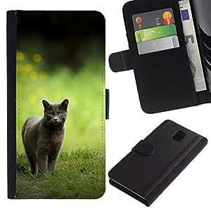 NEECELL GIFT forCITY // Billetera de cuero Caso Cubierta de protección Carcasa / Leather Wallet Case for Samsung Galaxy Note 3 III // Británico de Pelo Corto
