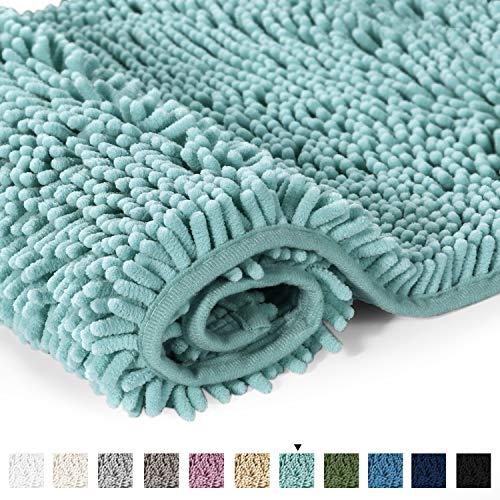 H.VERSAILTEX Bathroom Rug Shag Shower Mat Machine-Washable Plush Bath Mats with Water Absorbent Soft Microfibers, 20 W x 32 L, Duck Egg Shell Blue