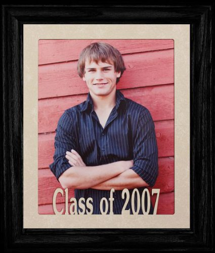 8x10 Class of 2007 Portrait Senior/Graduate School Photo Keepsake Frame ~ Laser Cut Cream Mat with Frame (BLACK)