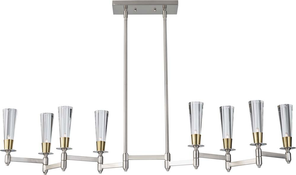 Feiss F2815/8BN/NB 8-Bulb Chandelier, Brushed Nickel/Natural Brass Finish