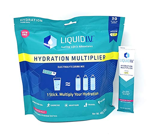 - Liquid I.V. Hydration Multiplier, Electrolyte Powder, Easy Open Packets, Supplement Drink Mix (Passion Fruit, 30 Count)