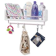 Rustic State Kid's Room Decor Stylish Wooden Floating Shelf with Pink Rails and 5 S Hooks White 20 Inch