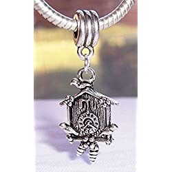 Cuckoo Clock Time Bird Antique 3D Dangle Charm for Silver European Bead Bracelet Crafting Key Chain Bracelet Necklace Jewelry Accessories Pendants