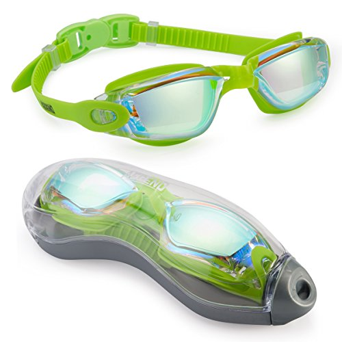 aegend Swim Goggles, Swimming Goggles No Leaking Anti Fog UV Protection Triathlon Swim Goggles with Free Protection Case for Adult Men Women Youth Kids Child, Viridian Silver