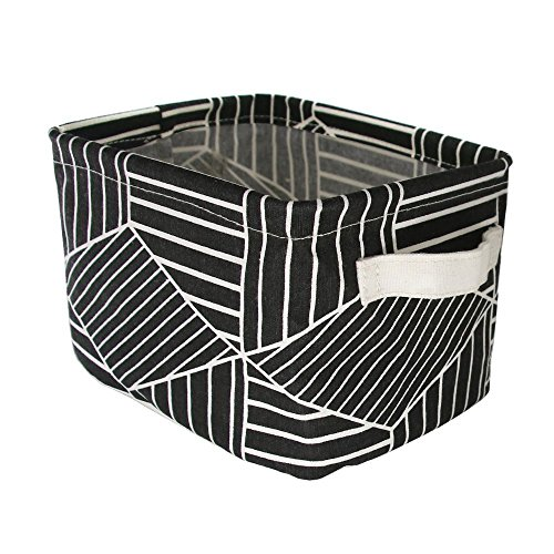 Mziart Geometric Pattern Small Storage Basket with Handle, Foldable Cotton Fabric Storage Organizer Box Cubes Bins for Home Office Shelves & Desk (Black (Black Fabric Stackable)