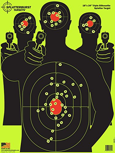 Splatterburst Targets - 18 x 24 inch - Triple Silhouette Reactive Shooting Target - Shots Burst Bright Fluorescent Yellow Upon Impact - Gun - Rifle - Pistol - AirSoft - -