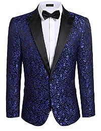 COOFANDY Men's Floral Party Dress Suit Dinner Jacket Wedding Blazer Prom Tuxedo