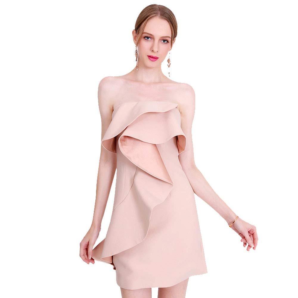 Women's Elegant Strapless Ruffle Off Shoulder Mini Dress (Size   XS)