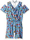 Amy Byer Big Girls' Cold-Shoulder V-Neck Romper, Yellow/Blue Daisy Mixed Floral, L