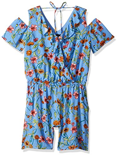 Amy Byer Big Girls' Cold-Shoulder V-Neck Romper, Yellow/Blue Daisy Mixed Floral, L by Amy Byer