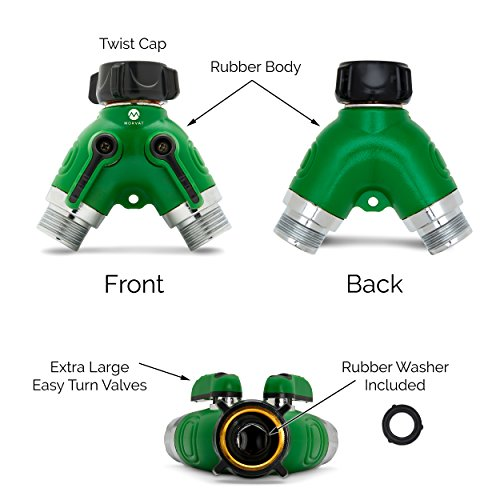 Morvat Heavy Duty Metal Garden Hose Connector Splitter with Rubber Grip Coating (2 Way Y Connector) | Water Hose Diverter, Adapter | Includes 4 Rubber Washers | Pack of 2 by Morvat (Image #1)