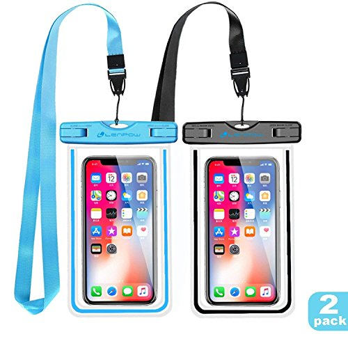 LENPOW Waterproof Case, Type PVC Water Proof Phone Pouch, Universal Clear Cell Phone Dry Bag Luminous Ornament Compatible iPhone Xs Max XR X 8 7 Plus Samsung Galaxy s9 s8 Google Pixel LG HTC