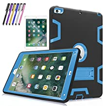 """New iPad 9.7"""" 2017 Case, Mignova Heavy Duty rugged Hybrid Protective Case with Build In Kickstand For iPad 5th Generation 2017 A1822/A1823 + Screen Protector Film and Stylus Pen (Black / Indigo Blue)"""