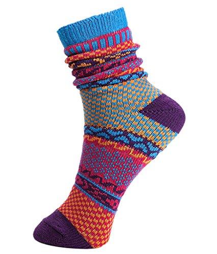 V-SOL 2 pares Hombre Calcetines Vintage Colores Casual Socks Algodón Respirable (5FWZ12@D) 5FWZ12@C