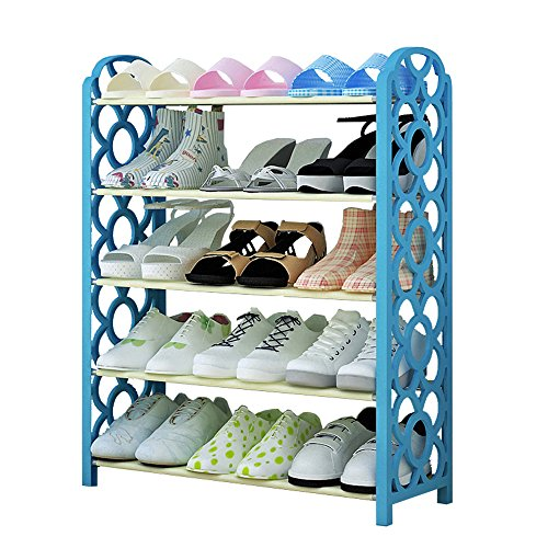 FKUO 5-Tier Shoe Rack Organizer Storage Bench - Holds 15 Pairs - Organize Your Closet Cabinet for Entryway - Easy to Assemble - No Tools Required (blue) (Make Your Own Storage Bench)