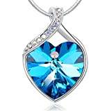 Ocean Blue Heart Crystal Necklace PLATO H Heart Neckalce With Swarovski Crystal, ''Forever Love'' Heart Shape Pendant Necklace for Women, Heart Of Ocean Blue Necklace