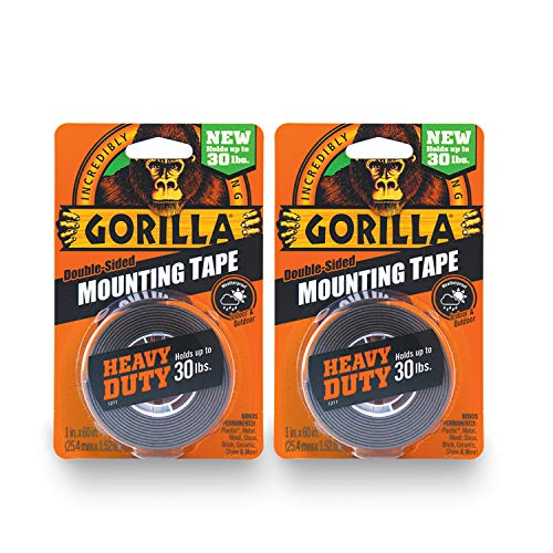 2 Heavy Tape Duty - Gorilla Heavy Duty Double Sided Mounting Tape, 1 Inch x 60 Inches, Black(Pack of 2)