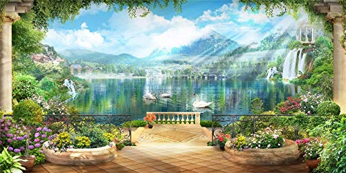 AOFOTO 20x10ft Old Retro Terrace View Background Blur Sunlight Spring Mountains Rivers Fairy Swan in The Lake Wedding Party Backdrop Girls Kids Family Portrait Photoshoot Vinyl Video Studio Props