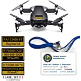 Mavic Air - FAA Drone Identification Bundle - Labels (3 sets of 3) + FAA UAS Registration ID Card for Hobbyist Pilots + Lanyard and ID Card Holder - Onyx Black Shown
