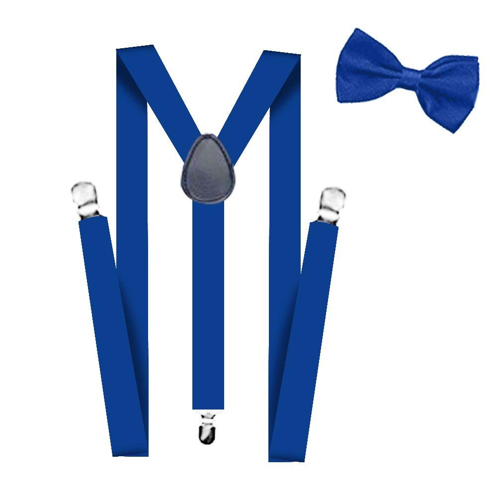FATOS-SBSBK Suspenders For Men,Women Adjustable Suspends Bow Tie Set Solid Color Y Shape Women Adjustable Suspends Bow Tie Set Solid Color Y Shape Black