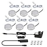 LE LED Under Cabinet Lighting Kit, 1020lm Puck Lights, 3000K, Warm White, All Accessories Included, Kitchen, Closet Lights, Set of 6